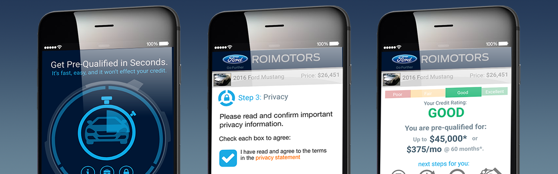 "In this particular design opportunity, I was tasked with creating a concept for allowing consumers to run through a quick, pre-qualification process housed on a dealership website. The experience itself need to feel ""app-like"" without the added overhead of requiring the end-user to actually download and install a device-specific app.[...]"